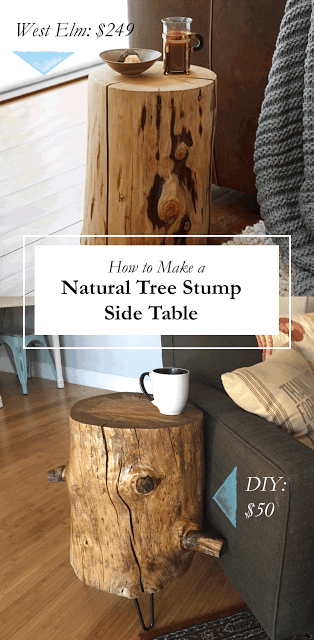 Diy how to make a tree stump stool for 50 or less for Diy wood stump side table