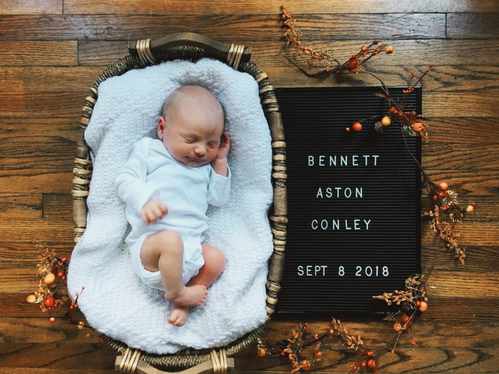 Bennett baby announcement positive birth